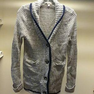 Grey knit cardigan button up